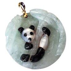 Vintage 14K Jade Panda Mother of Pearl Jadeite Pendant