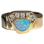 14K Vintage Opal & Diamond Ring