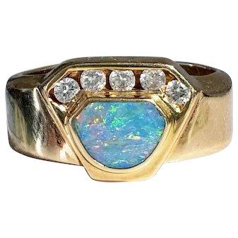 Vintage 14K Boulder Opal & Diamond Ring 6