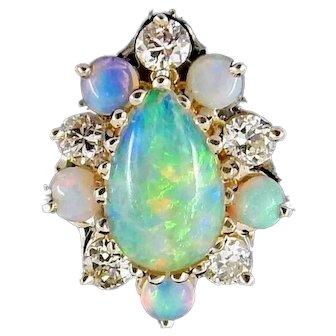 Beautiful 14K Opal & Diamond Ring 6.5