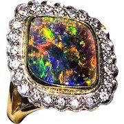 Extra Fine 18K Solid Black Australian Opal Diamond Ring 6.5