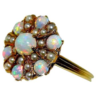 Antique 18K Opal & Seed Pearl Ring