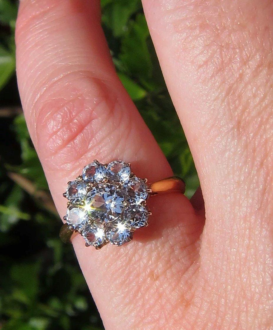 22K White Sapphire Old Victorian Cluster Antique Ring SOLD | Ruby Lane
