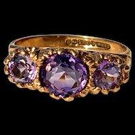 Pretty Vintage Purple Amethyst 3-Stone Trilogy Ring 6.25