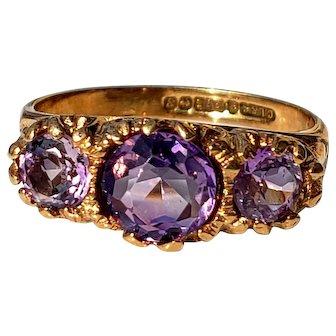 Antique 9ct Purple Amethyst 3-Stone Ring 6.25