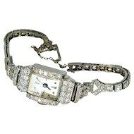 Art Deco Diamond Platinum 2.02TCW Glycine Vintages Swiss Watch