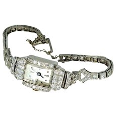 Art Deco 2ct Diamond Platinum Swiss Watch
