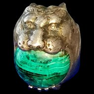 Men's Vintage Cougar Panther Lion Head Ring with Malachite Gemstone Ring 10.5