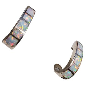 Sterling Silver Vintage Opal Hoop Earrings