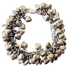Vintage Puffy Heart Loaded Sterling Silver Charm Bracelet