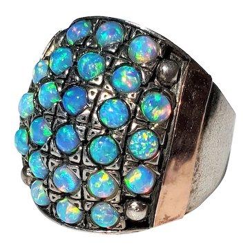 Large Vintage Sterling Silver & 14K Gold Opal Ring