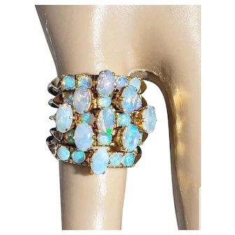 Vintage 14K Opal Cluster Ring 6.5
