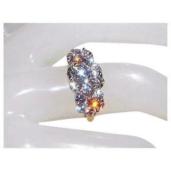 1.92tcw Stunning 14K Brilliant-Cut VS, H-I Diamond Cluster Anniversary Ring 6.5