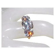 Stunning 14K Brilliant-Cut VS, H-I 1.92tcw Genuine Diamond Cluster Anniversary Ring 6.5