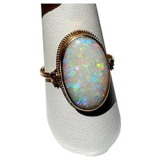 Antique Large Opal Cabochon 10K White Gold Ring 9