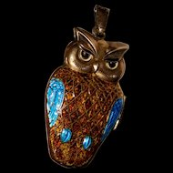 Vintage Owl Enameled Locket Pendant for Necklace
