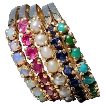 14K 5-Band Opal, Ruby, Pearl, Sapphire, Turquoise Ring 7.5