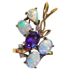 Vintage 14K Amethyst Opal & Diamond Pendant Necklace