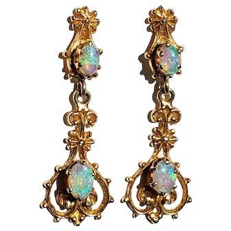 14K Opal Dangle Vintage Pierced Earrings