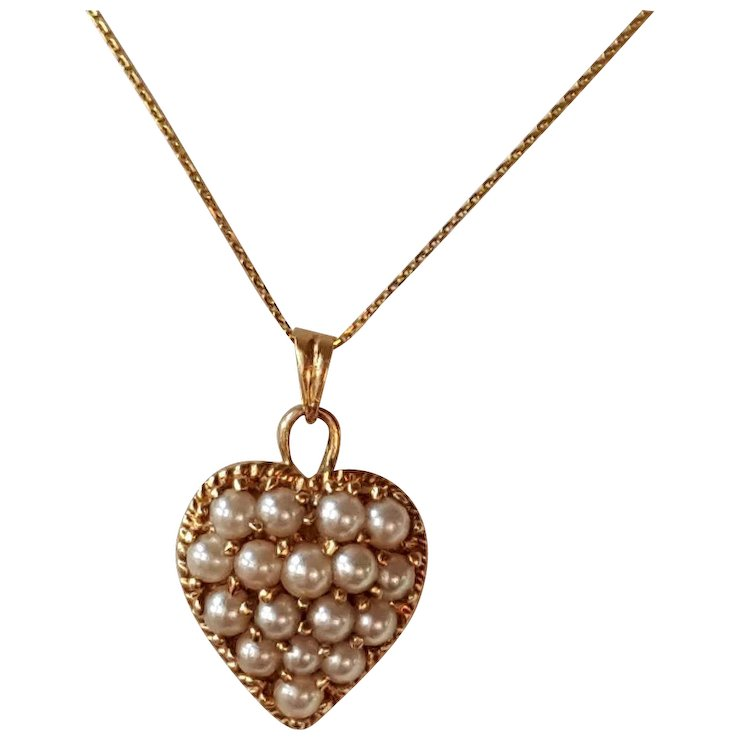 Favorite Victorian Seed Pearl Heart Pendant and 14K Chain Necklace SOLD  QM11