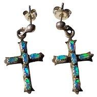 Vintage Sterling Silver Natural Opal Cross Earrings