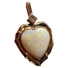 Large 14K Opal Heart & Diamond Pendant