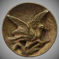 Vintage Victorian Brass Bird Button