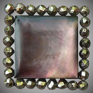 Early Victorian Abalone Pearl and Cut Steel Button