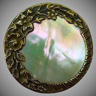 Wonderful Victorian Large Pearl and brass button