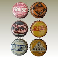 Six early Vintage Pop Bottle caps