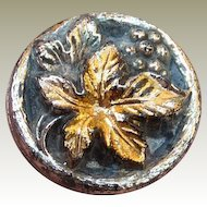 Vintage Iridescent Black Glass Leaf Button