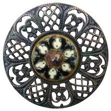 Lovely 1800's Vintage Enamel and Filigree Button