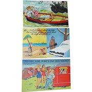 Three Humorous Vintage Postcards