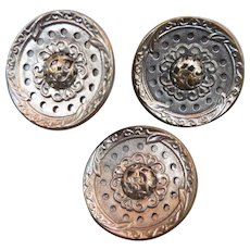 Set of three Vintage Mirror Back Buttons