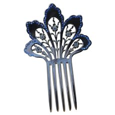 Edwardian Celluloid and Rhinestone Mantilla Hair Comb