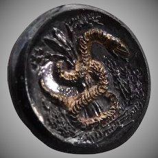 Vintage Gold Luster Black Glass Snake Button