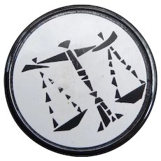 Vintage Libra Astrological Glass Button