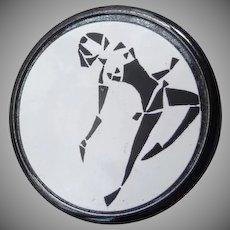 Vintage Black Glass Virgo Astrological Button