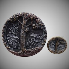 Fabulous Large and small Vintage Oak Tree Mother/daughter Buttons