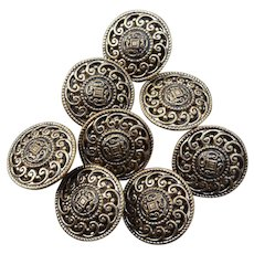 Eight Vintage Brass Buttons