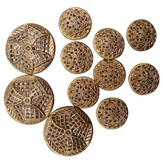 Eleven Vintage New/Old Mirror Backed Brass Buttons