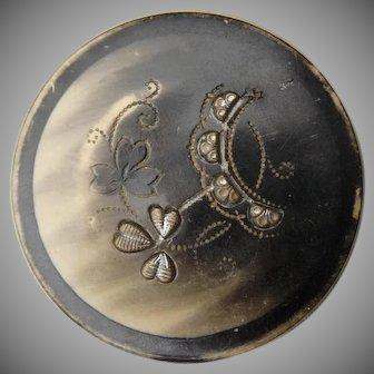 Large Vintage Shamrock Button