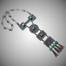 Wonderful Vintage Mexican Mayan Brass Necklace