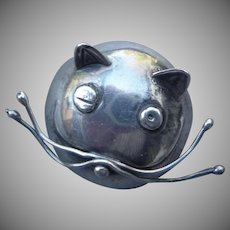 Early signed Mexican Taxco Cat Head Pin