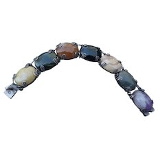 Lovely Vintage Mexican Silver and Agate Bracelet