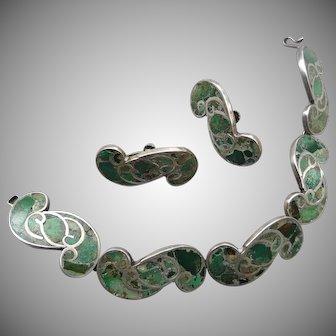 Vintage Sterling Mexican Inlaid Vintage Bracelet and Earrings