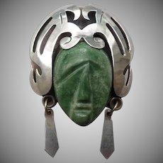 Wonderful Vintage Mexican Silver Mask Pin/Pendant