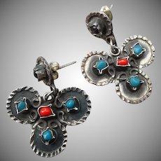 Lovely Sterling Mexican Matl Style Earrings
