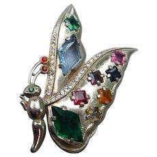 Wonderful Vintage Jewelled Butterfly Pin