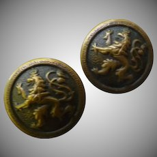 Two Victorian Griffin Brass Buttons